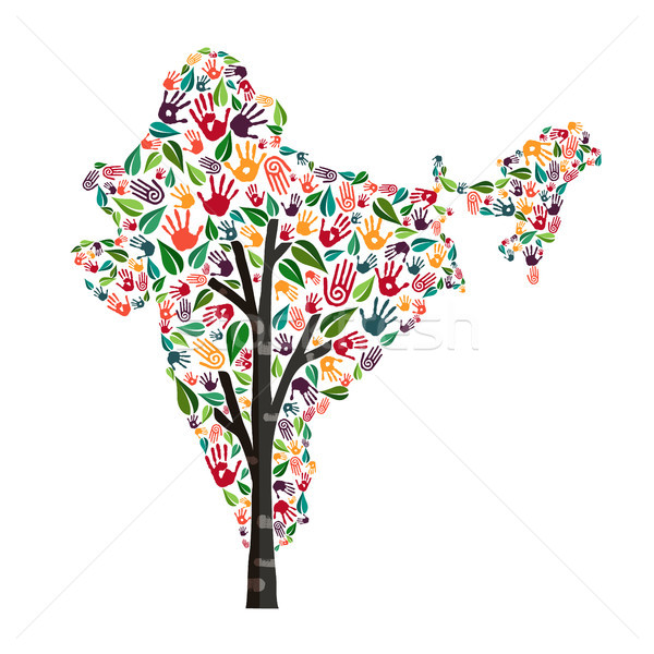 India hand print tree symbol for world help Stock photo © cienpies
