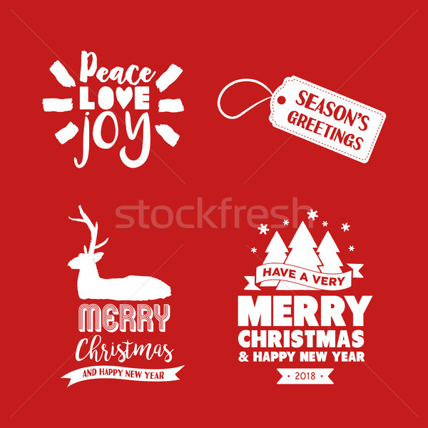 Christmas handmade ink brush lettering quote set Stock photo © cienpies