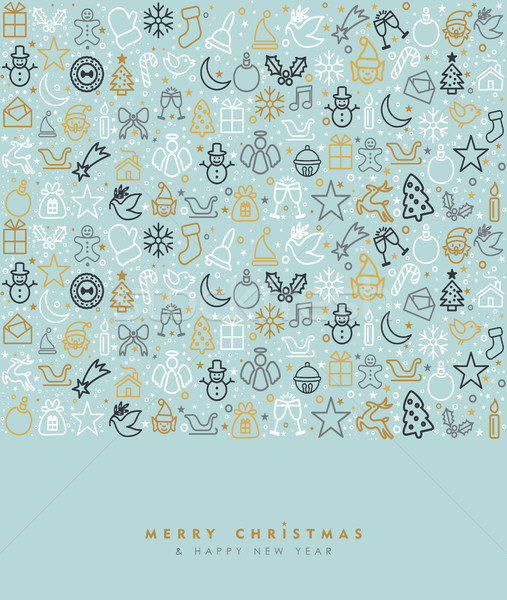 Christmas and new year gold icon greeting card Stock photo © cienpies