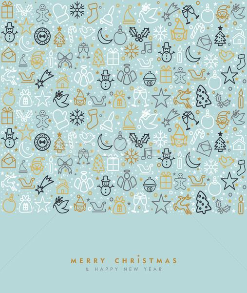 Natale capodanno oro icona biglietto d'auguri allegro Foto d'archivio © cienpies