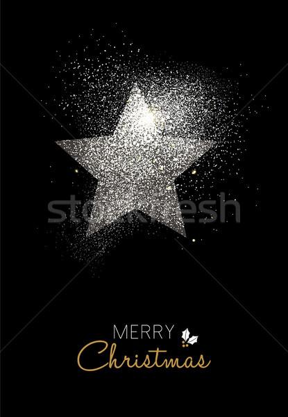 Joyeux Noël argent glitter star vacances Photo stock © cienpies