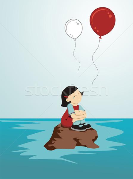 泣い 少女 日本 座って 岩 緩い ストックフォト © cienpies
