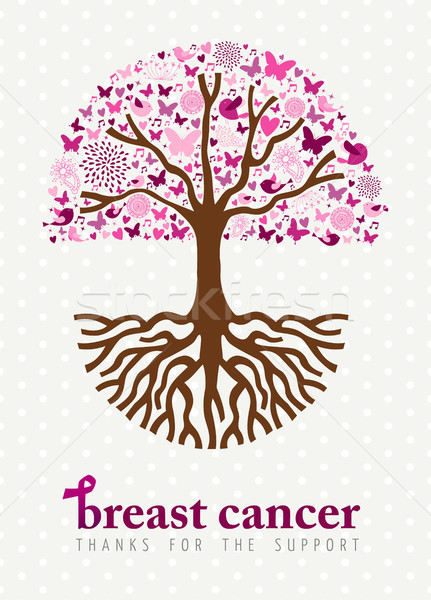 Breast cancer awareness month pink spring tree art Stock photo © cienpies