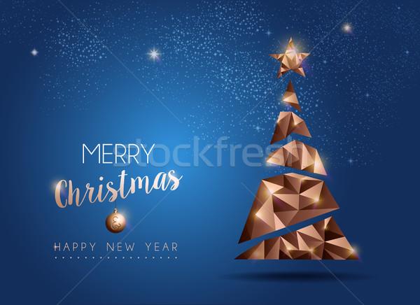Noel yılbaşı lüks çam ağacı kart neşeli Stok fotoğraf © cienpies