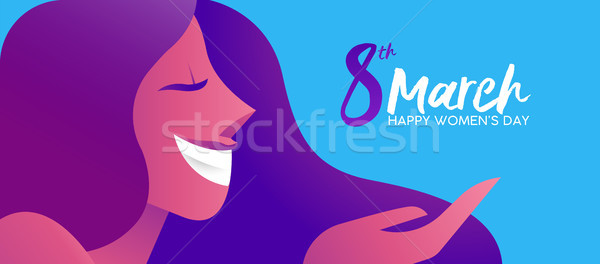 Womans Day 8th march happy woman banner design Stock photo © cienpies