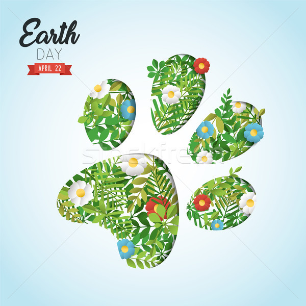 Happy Earth Day cutout card for wild animal help Stock photo © cienpies