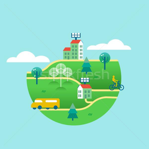 Környezetbarát zöld világ tiszta energia illusztráció város Stock fotó © cienpies