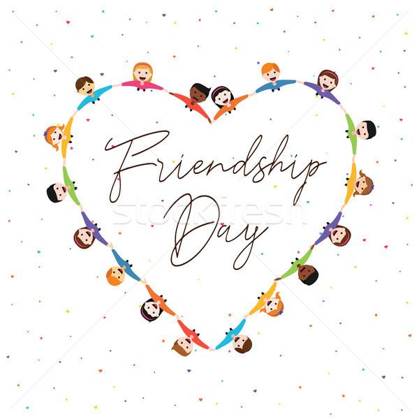 Amicizia giorno carta kid amici amore Foto d'archivio © cienpies