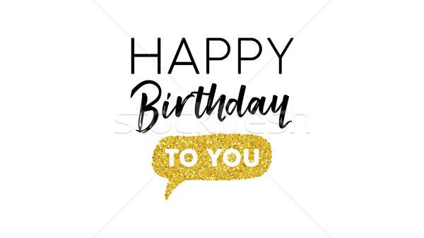 Happy birthday gold glitter typography card Stock photo © cienpies