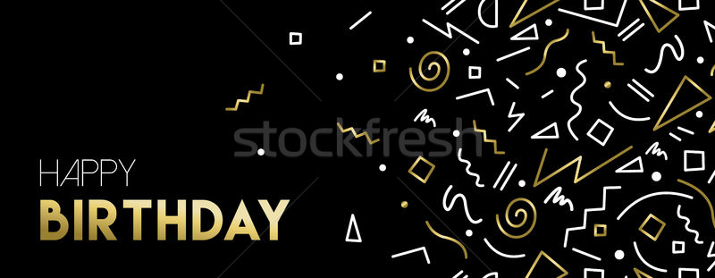 お誕生日おめでとうございます ウェブ バナー 金 装飾 レトロな ストックフォト © cienpies