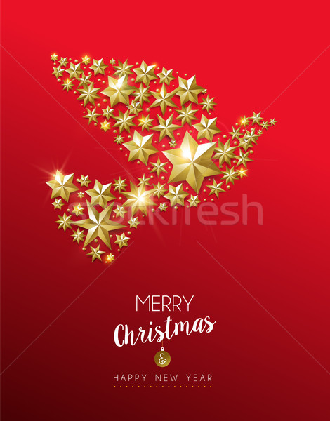 Christmas złota star dove czerwony Zdjęcia stock © cienpies