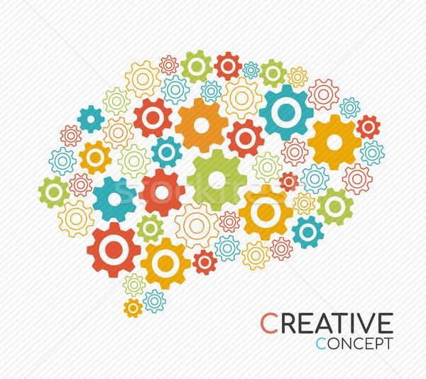 Criador novo idéia cérebro humano pensamento criativo ilustração Foto stock © cienpies