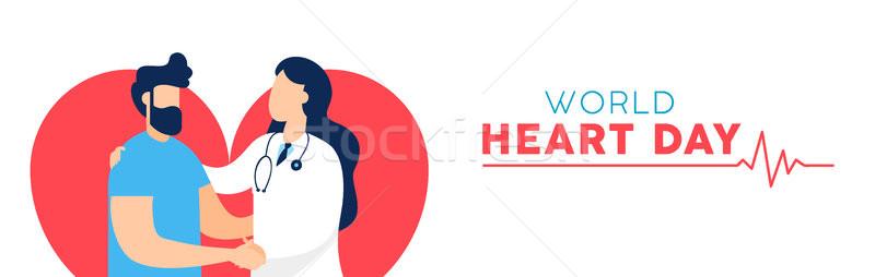 Stok fotoğraf: Dünya · kalp · gün · afiş · doktor · hasta