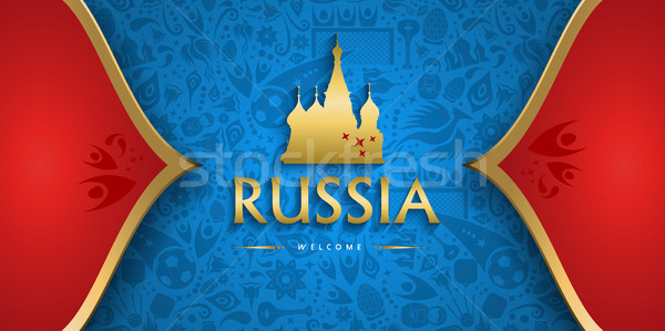 Russia soccer background with russian event sign Stock photo © cienpies