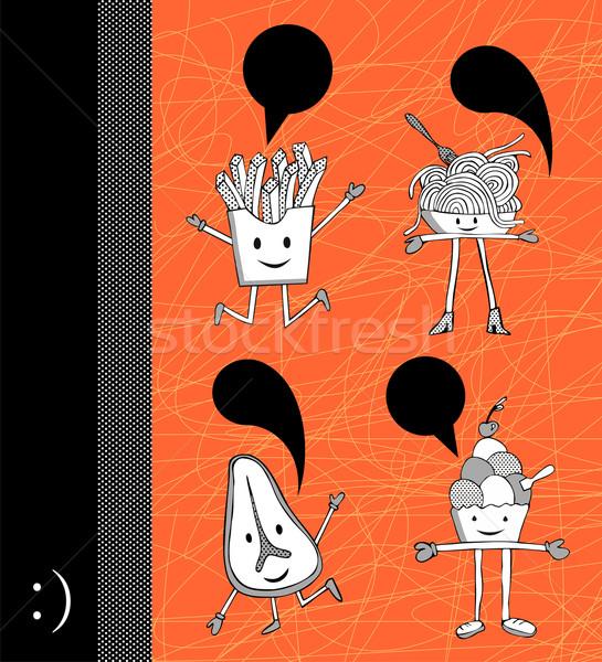 Alimentaire dialogue ballon drôle orange Photo stock © cienpies