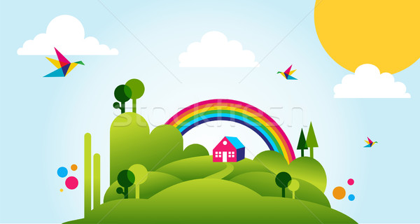 Happy spring time landscape illustration background Stock photo © cienpies