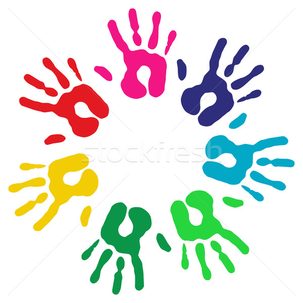 Multicolor diversity hands circle Stock photo © cienpies