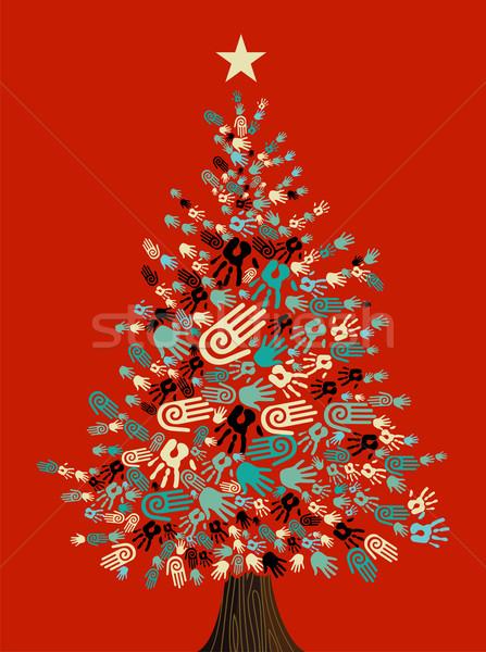 Diversiteit kerstboom handen wenskaart gemakkelijk Stockfoto © cienpies