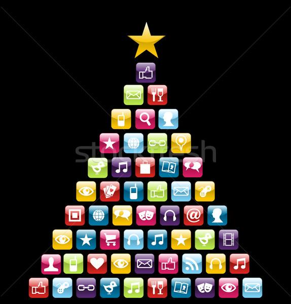 Icone albero di natale lucido sociale multimediali Natale Foto d'archivio © cienpies