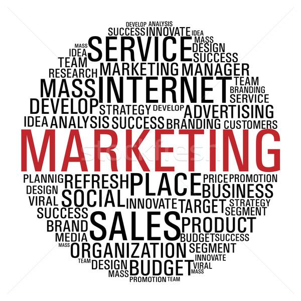 Stock fotó: Marketing · kör · kommunikáció · internet · marketing · szavak · izolált
