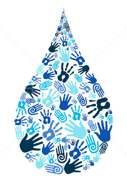 Save water diversity hand shape Stock photo © cienpies