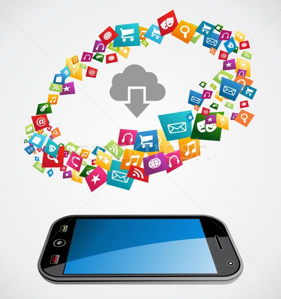 Cloud computing mobile application Stock photo © cienpies