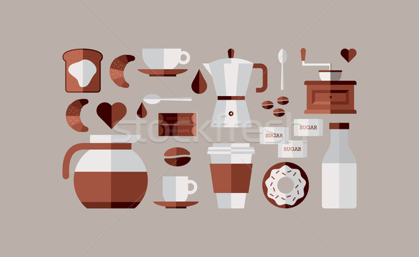 Foto stock: Café · café · da · manhã · ícones · colorido · bege