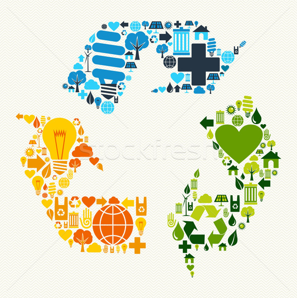 Green recycle symbol icons Stock photo © cienpies