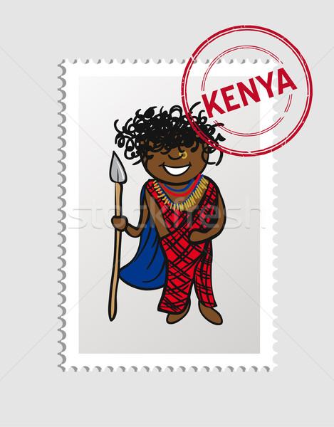 Kenya cartoon person travel stamp. Stock photo © cienpies