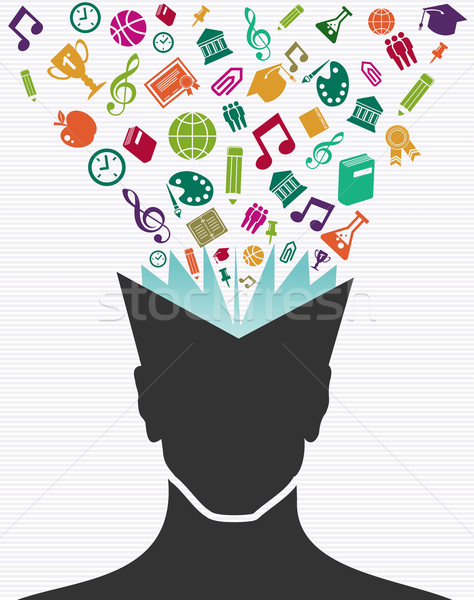 Education colorful icons human head book. Stock photo © cienpies