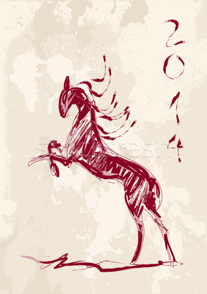 Chinese new year of the Horse brush style vector file. Stock photo © cienpies