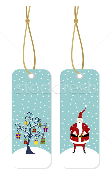 Christmas series: Santa Claus and Christmas tree hang tags Stock photo © cienpies