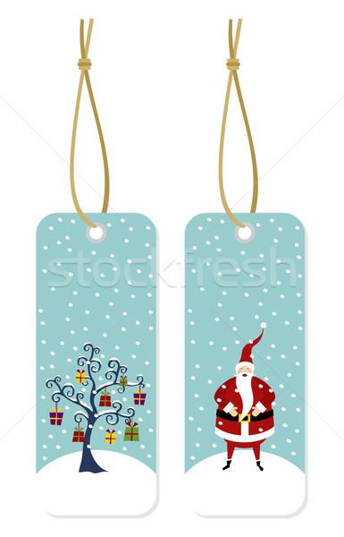Christmas series: Santa Claus and Christmas tree hang tags Stock photo © cienpies