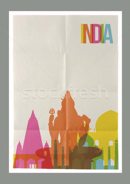 Reizen Indië skyline vintage poster beroemd Stockfoto © cienpies