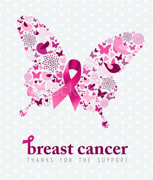 乳癌 サポート ポスター ピンクリボン 蝶 春 ストックフォト © cienpies