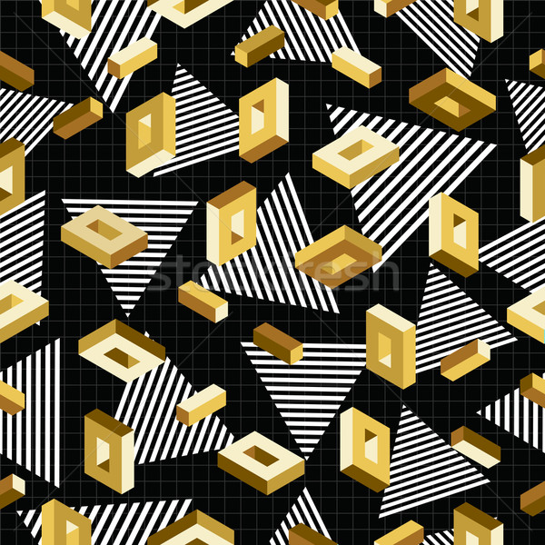 Gold seamless pattern retro 80s 3d background Stock photo © cienpies