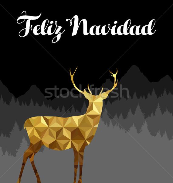 Christmas spanish deer gold low poly navidad card Stock photo © cienpies