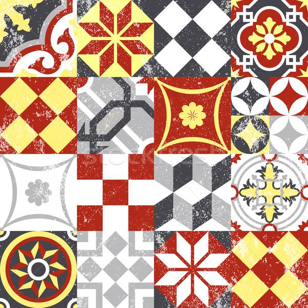 Vintage patchwork mosaïque carrelage traditionnel Photo stock © cienpies