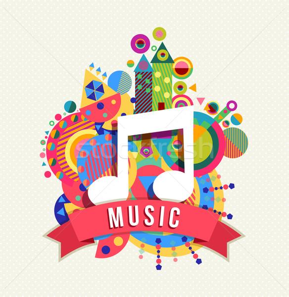 Música nota ícone Áudio etiqueta cor Foto stock © cienpies