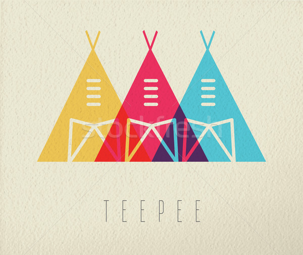 Tepee native american icon concept color design Stock photo © cienpies