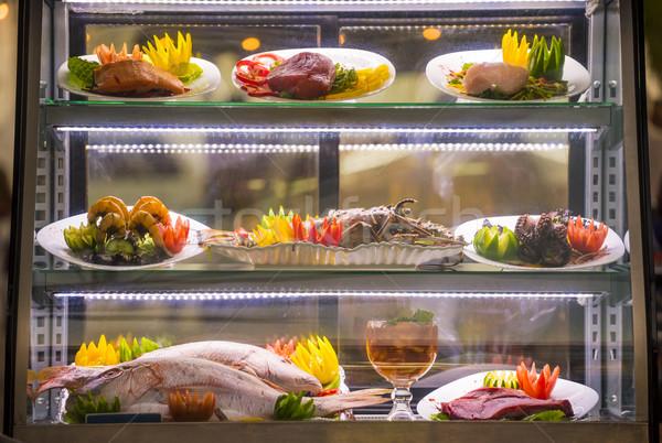 морепродуктов буфет ресторан свежих продуктов отображения элегантный Сток-фото © cienpies
