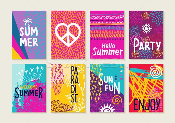 カラフル 夏 カード セット ビーチ イラスト ストックフォト © cienpies