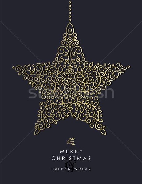 Gold Christmas and new year ornamental star shape Stock photo © cienpies