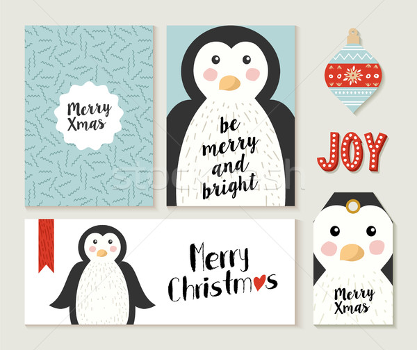 Merry Christmas penguin card and label set Stock photo © cienpies
