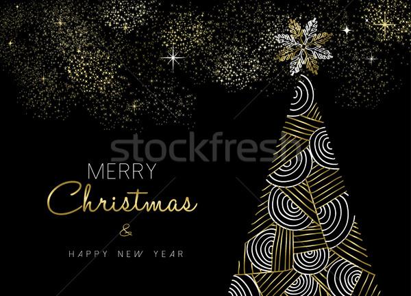 Weihnachten Neujahr Gold Geometrie line Kiefer Stock foto © cienpies