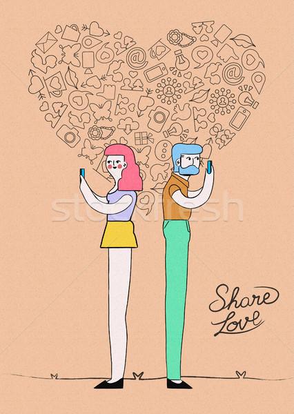 Internetu miłości social media projektu ilustracja Zdjęcia stock © cienpies