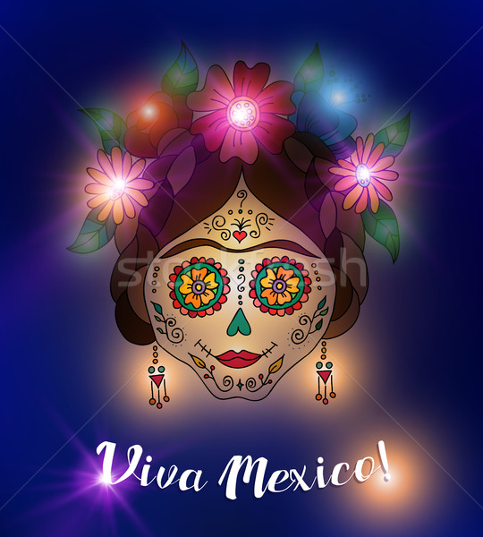 Day of the dead skull in traditional mexican style Stock photo © cienpies
