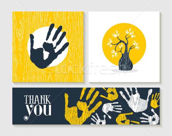 Thank you hand print card set for community help Stock photo © cienpies