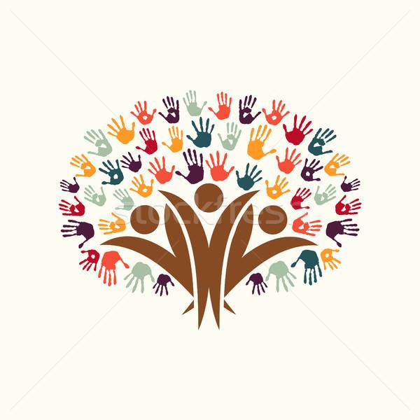 Hand Print People Tree Symbol For Community Help Vector Illustration