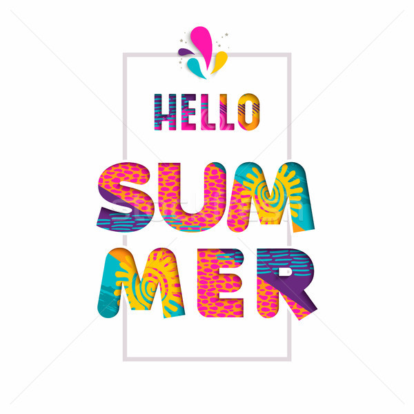Hello summer color text quote in fun paper cut art Stock photo © cienpies